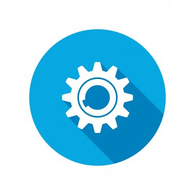 Gear icon. Cogwheel symbol. Round circle flat icon with long shadow. Vector