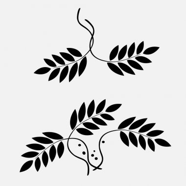 Laurel wreath tattoo. Stylized black ornaments of leaves. Religion sign. Protection, peace, glory symbol. Vector isolated