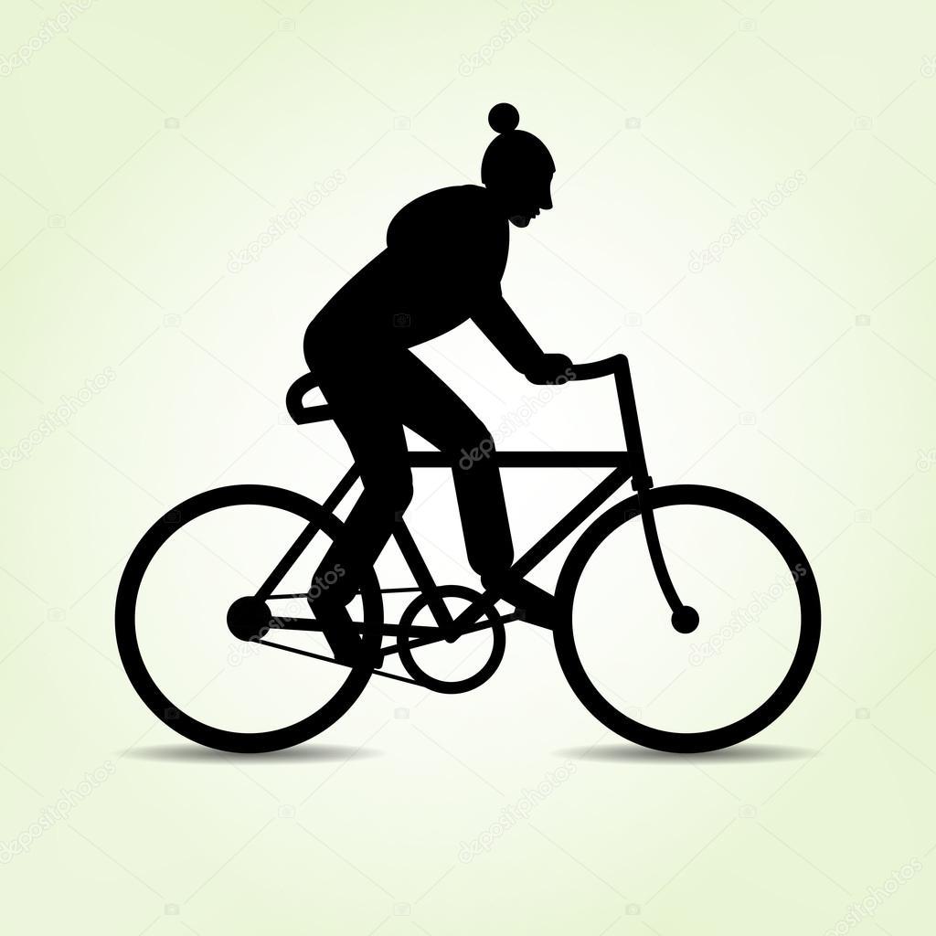 Teenager-Alter, geht Kerl mit dem Fahrrad. Männlich Fahrrad-Symbol ...