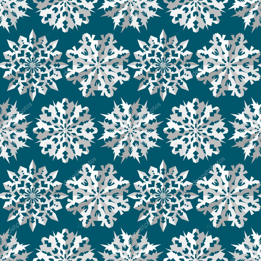 seamless christmas pattern origami paper white