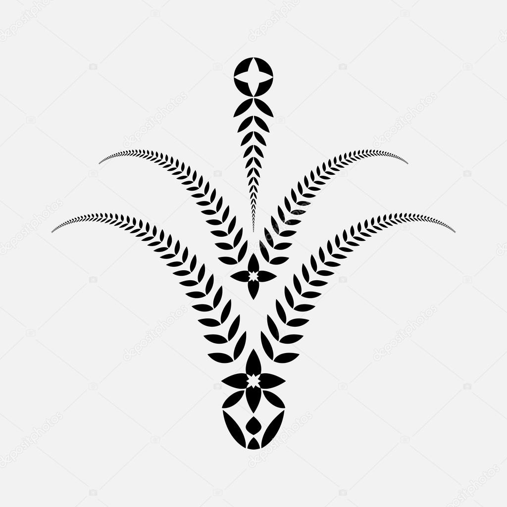 Laurel Crown Tattoo Laurel Wreath Tattoo Decorative Bowl Goblet Icon With Croses Ornament Sign Of Five Branches Victory Peace Glory Summit Symbol Black Silhouette On White Background Vector Isolated Stock