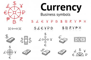 Dollar, Euro, Pound, Yen, Ruble, Rupee, Shexel, Peso, Bitcoin currency icons set. USD, EUR, JPY,  GBP, RUB, INR, ILS, money sign symbols. Finance buttons. Vector