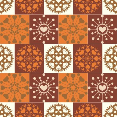 Christmas seamless pattern. Heart snowflakes. New Year, Valentine day, birthday texture. Gold, brown, orange colored. Vector