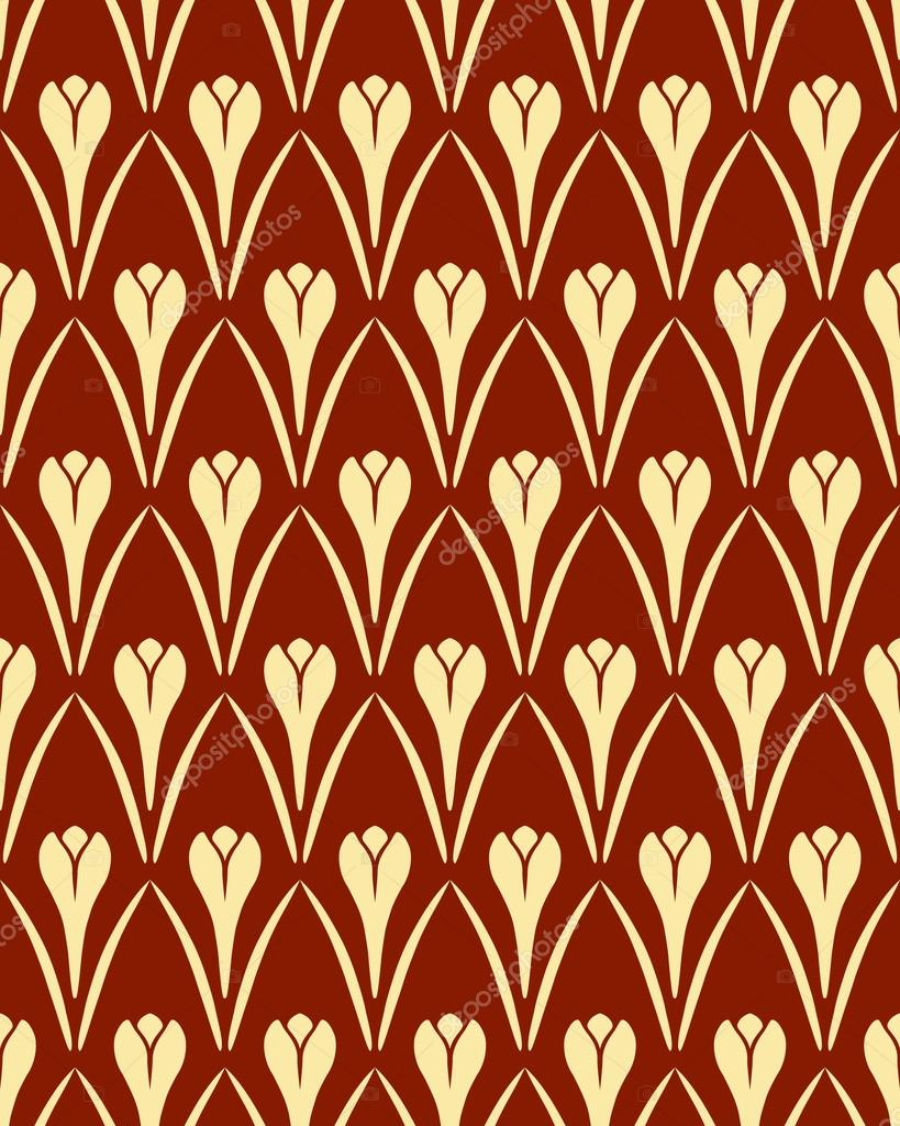 Seamless floral pattern. Crocus vintage background. Flower texture. Brown yellow contrast colored. Vector