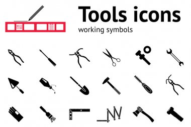 Tool icons set. Glue, pliers, tongs, wrench key, hammer, trowel, clinometer, axe, hache, angle, spade, gloves, screw bolt, nut, scissors. Repair fix symbol. Round black circle signs with long shadow