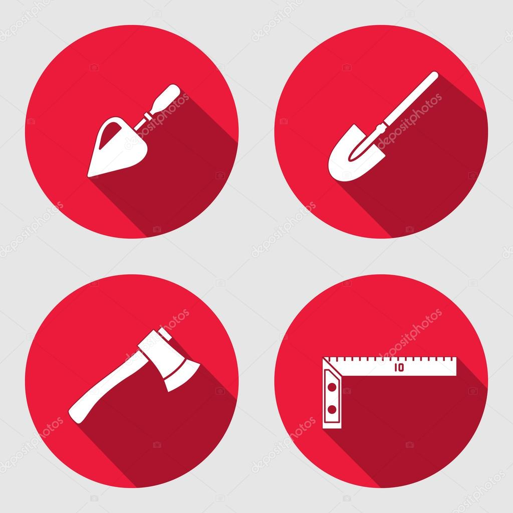 Tool icon set. Trowel, spattle, surfacer, axe, hache, shovel, spade, angle. Work, job, labour, toil, repair, fix, plane, building symbol. White sign on round red button with long shadow. Vector