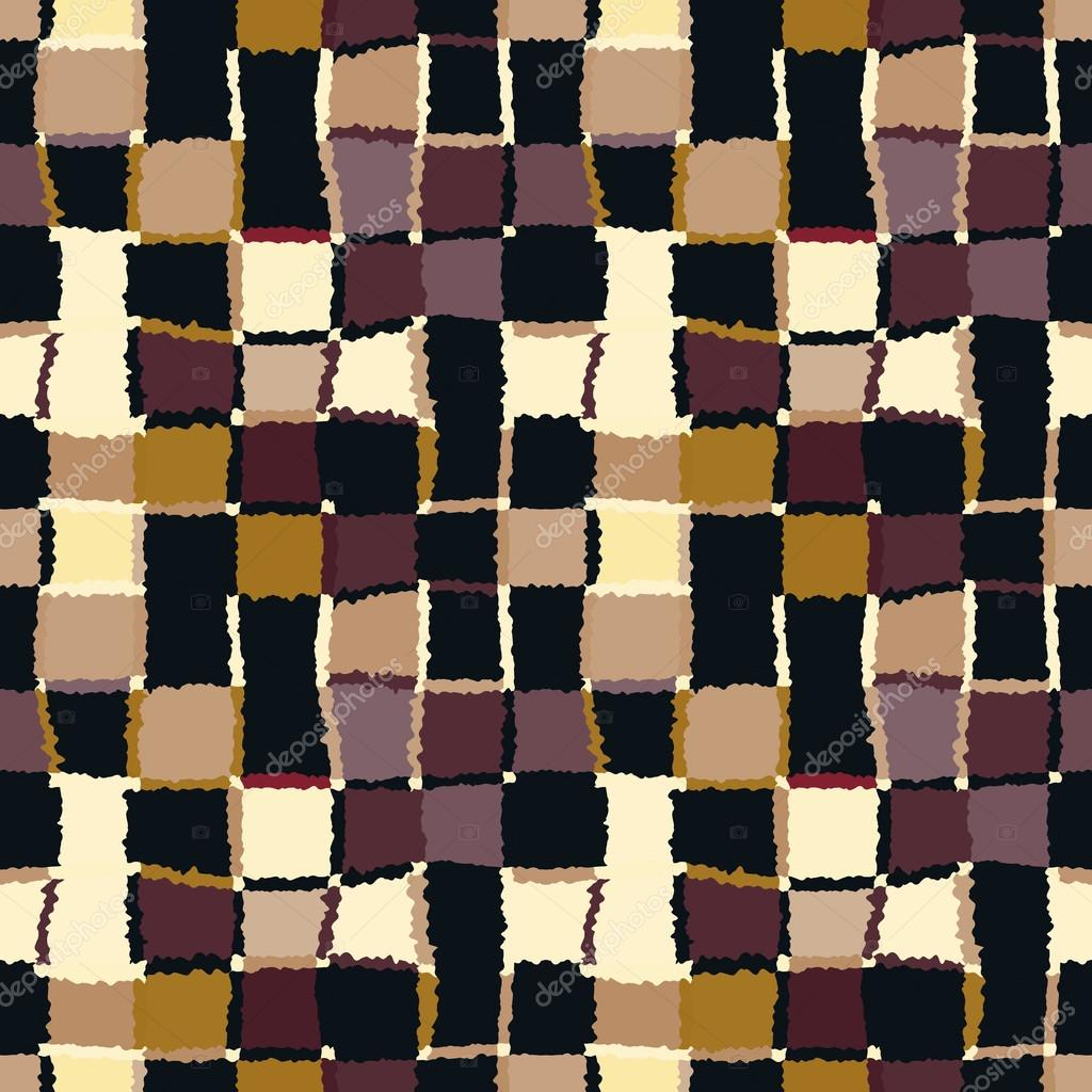 Seamless geometric mosaic checked pattern background of background of rectangles and squares patchwork ceramic tile texture warm bright brown yellow green colors winter coffee chocolate theme dailygadgetfo Choice Image