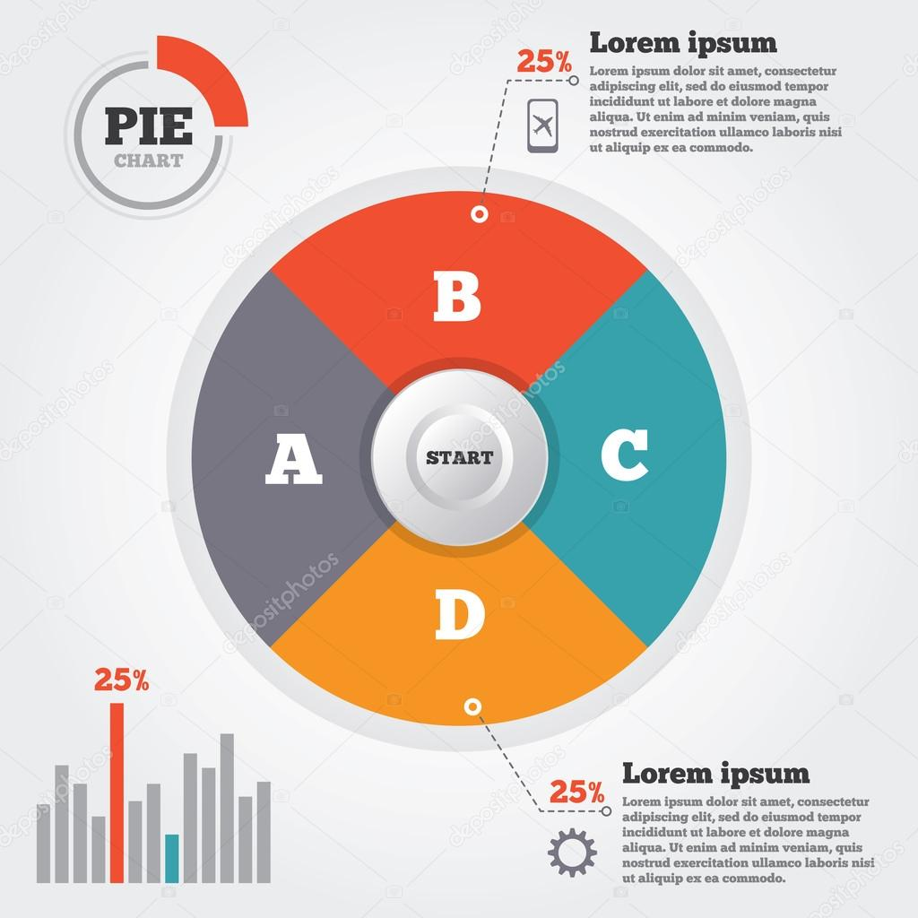 Infographics elements pie chart modern business infographics flat infographics elements pie chart modern business infographics flat circle four options vector ccuart Image collections