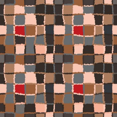 Geometric mosaic seamless pattern. Checked background of woven rectangles and squares. Patchwork, ceramic, tile texture. Cold, gray, brown, rose colors. Vector