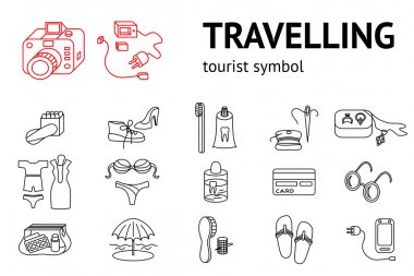 Set of line travel icons. Tourism, trip, vacation accessories symbol. Icons for travaling memo, instruction. Vector isolated
