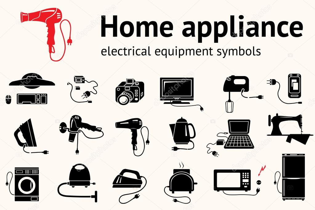 Electrical Appliance With Plug Equipment Icon Set Hairdryer Iron