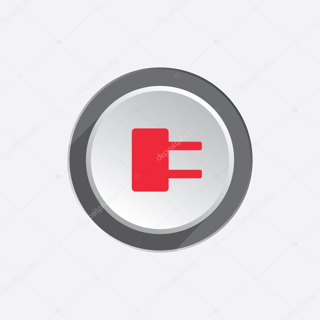 Plug Power Stock Quote: Electric Plug Sign. Power Energy Symbol. Red Sign On Round