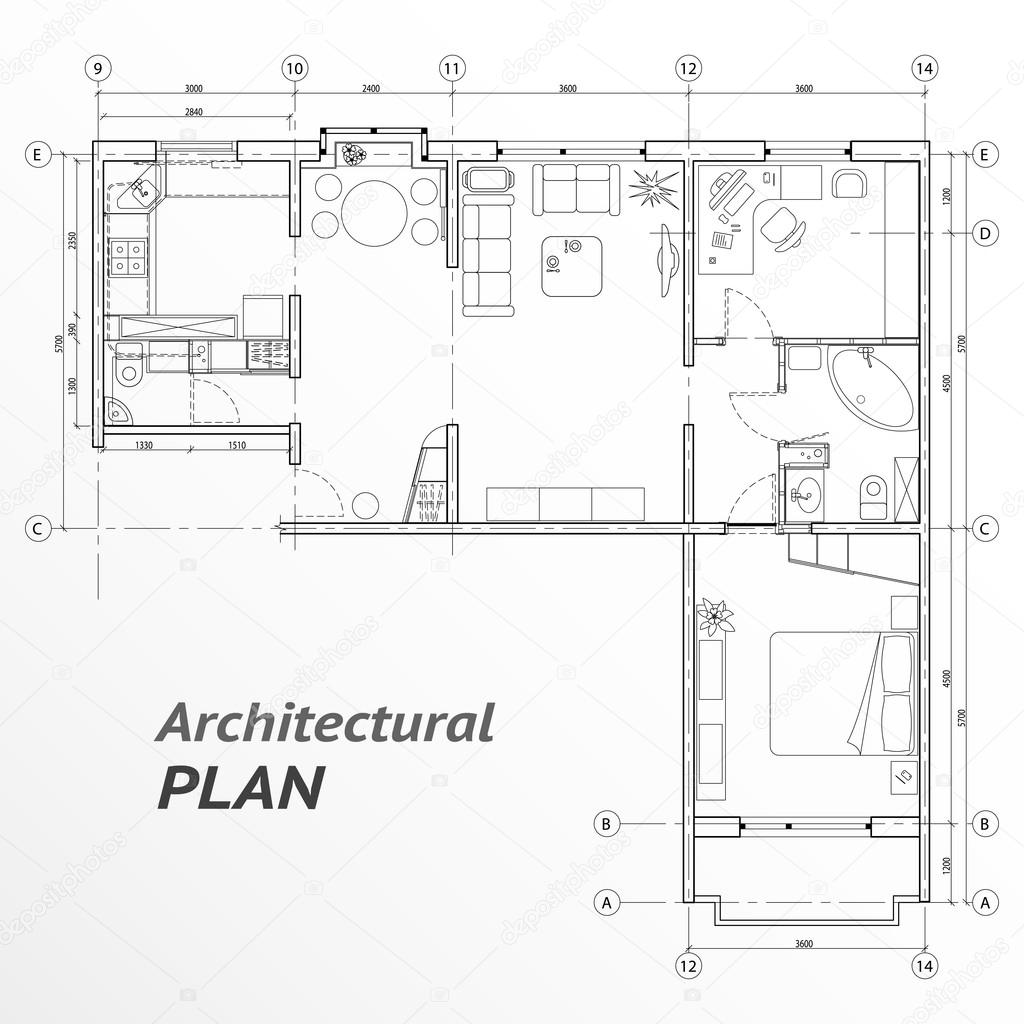 Architectural Set Of Furniture On Apartment Plan With