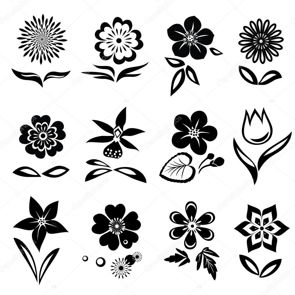 flowers and leaves icons set nasturtium  camomile Flour De Lis Fleur De Lis Outline