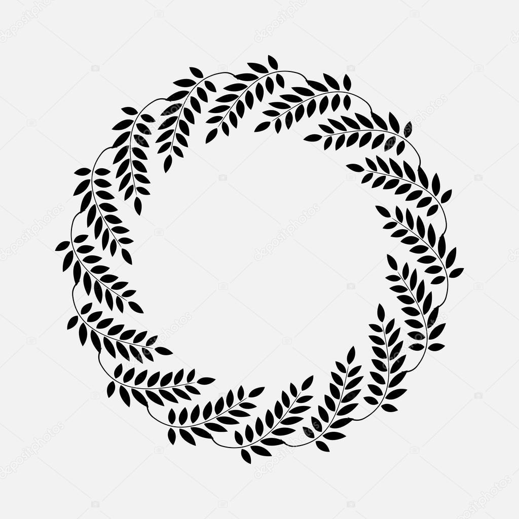 Laurel Couronne De Tatouage Cicle Ornements Stylises Noirs Signes