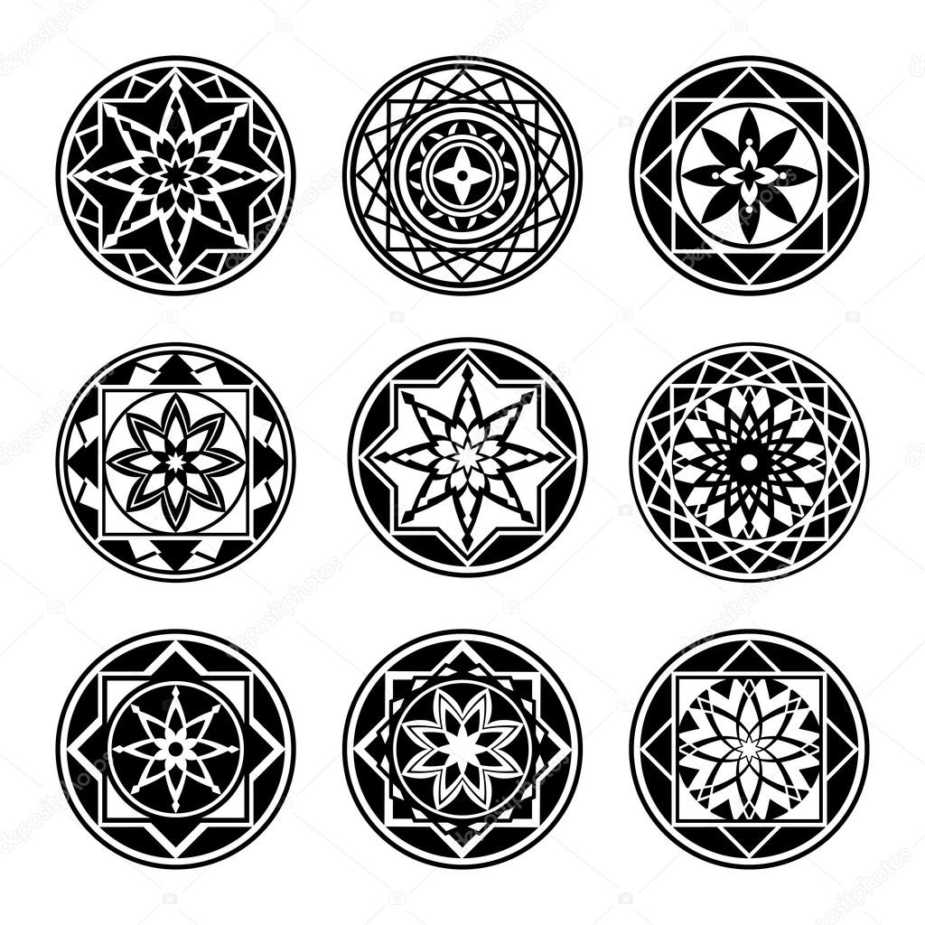 mandala elemente tattoo symbol gesetzt star floral. Black Bedroom Furniture Sets. Home Design Ideas
