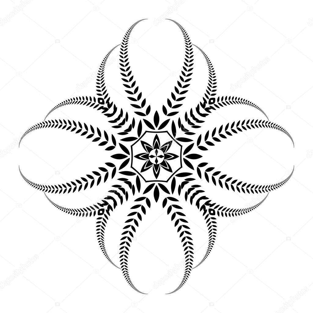 Tatuaż Wieniec Laurowy Czarnym Wzorem Krzyż Na Białym Tle