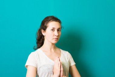 Girl meditates, harmony yourself
