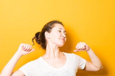 Bright brunette girl doing exercises