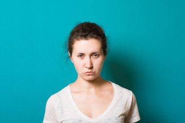 beautiful brunette girl angry