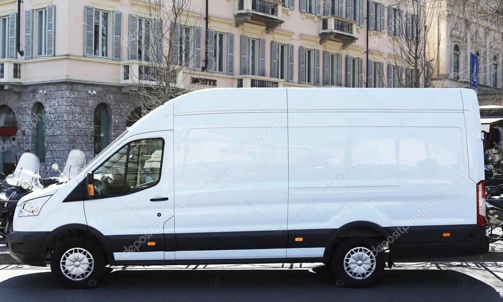 Blank white van truck outdoor