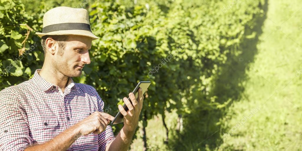 Digital farmer checking his field