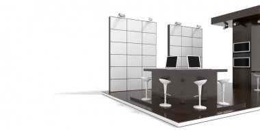 Exhibition stand on white