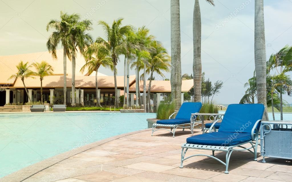 Luxury summer resort swimming pool