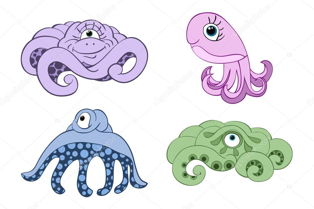 Dibujos: pulpos a color | Pulpos de colores dibujos animados ...