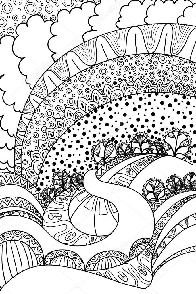 coloring book landscape