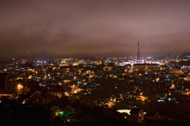 Magic view on the city of Da Lat at night, taken from Robin Hill.