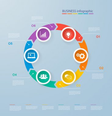 Infographics template with realistic colorful circles for 6 steps and icons. Can be used for workflow layout, diagram, number options, step up options, web design, infographics, presentations