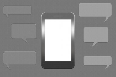smartphone with blank speech bubble for text on grey background