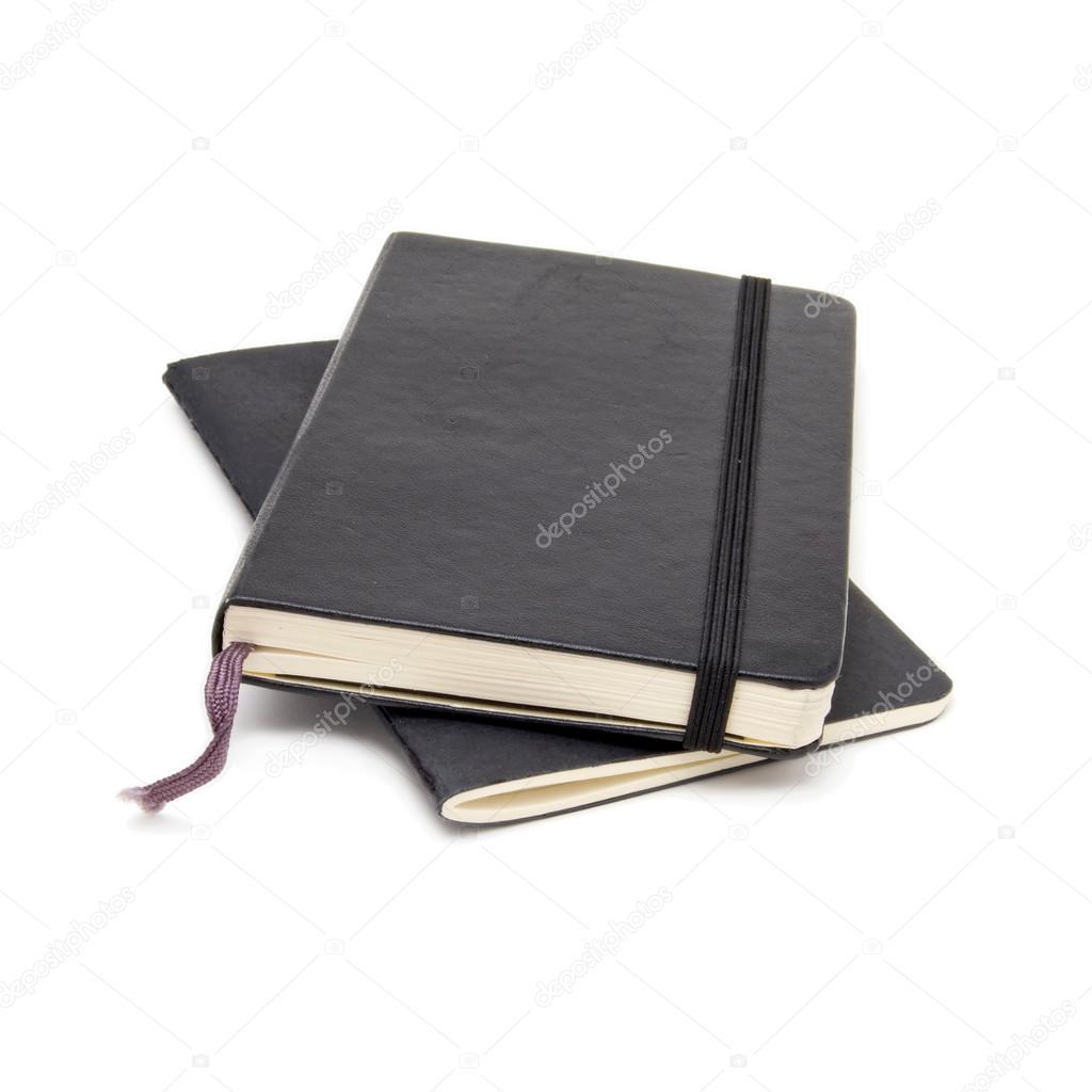Negro cuadernos de contabilidad de contabilidad aislados en blanco ...