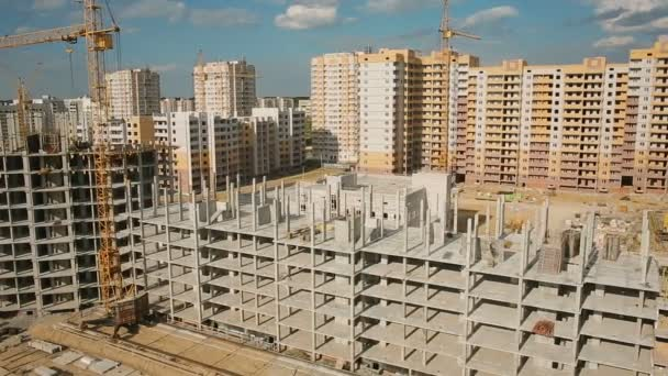 Aerial shot: construction of apartment houses in the city