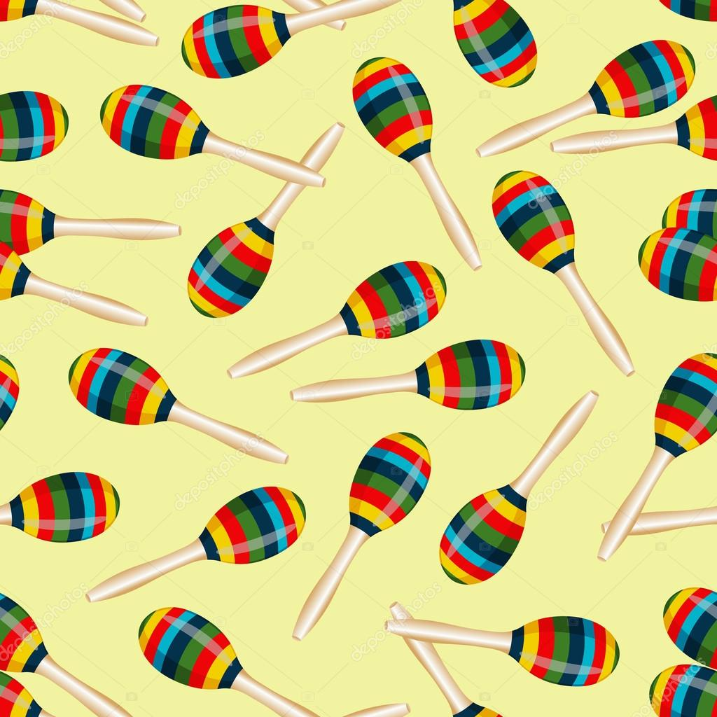 seamless pattern with striped mexican maracas. mariachi music
