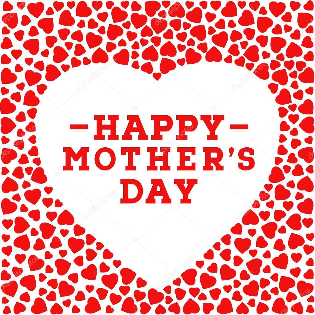 Glückliche Mutter Tag Postkarte. Grenze mit roten Herzen isoliert ...
