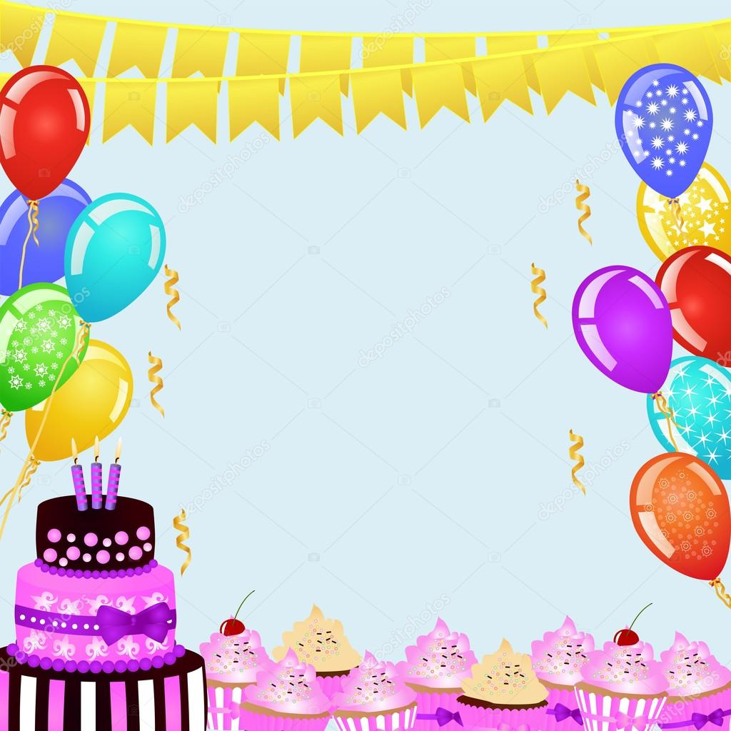 Birthday Party Background With Bunting Flags Balloons Cake And Cupcakes Border For Your Design Festive Frame Copy Space Text