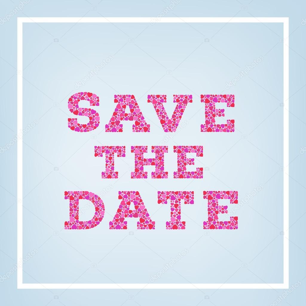 Speichern Sie Die Datum Inschrift Von Kleinen Herzen Formen Auf Blauem  Hintergrund Weich Gemacht. Hochzeit Einladung Kartenlayout Für Persönlichen  Urlaub.