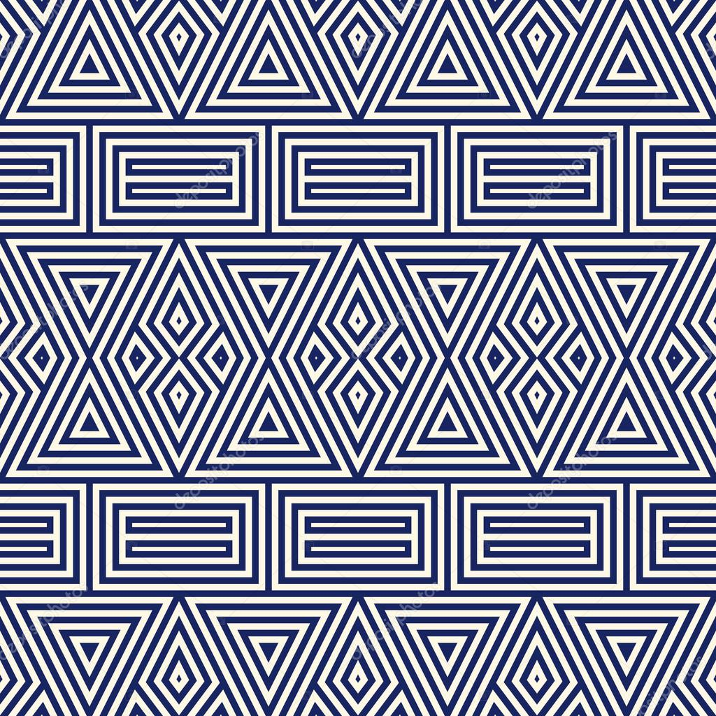 Modele Sans Couture Avec Ornement Geometrique Symetrique Raye Bleu