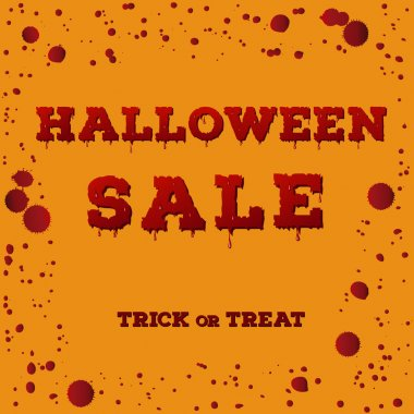 Design of the flyer with halloween sale inscription with red spots, drips and splashes and bloody font.