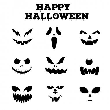 Collection of Halloween pumpkins carved faces silhouettes. Black and white images. Vector illustration