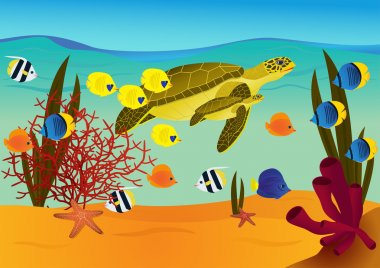 Underwater scene with cartoon turtles and fishes