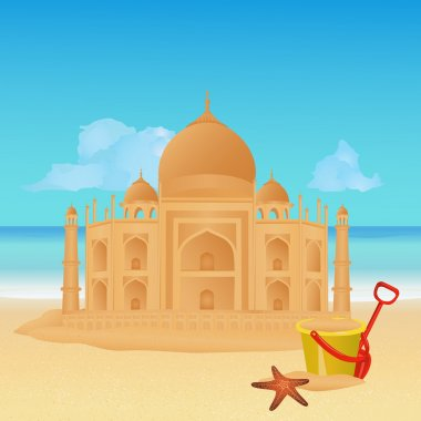 Copy of Taj Mahal made out of sand on tropical beach