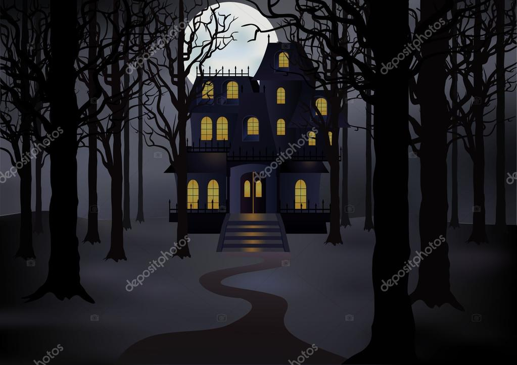 Haunted house in foggy forest