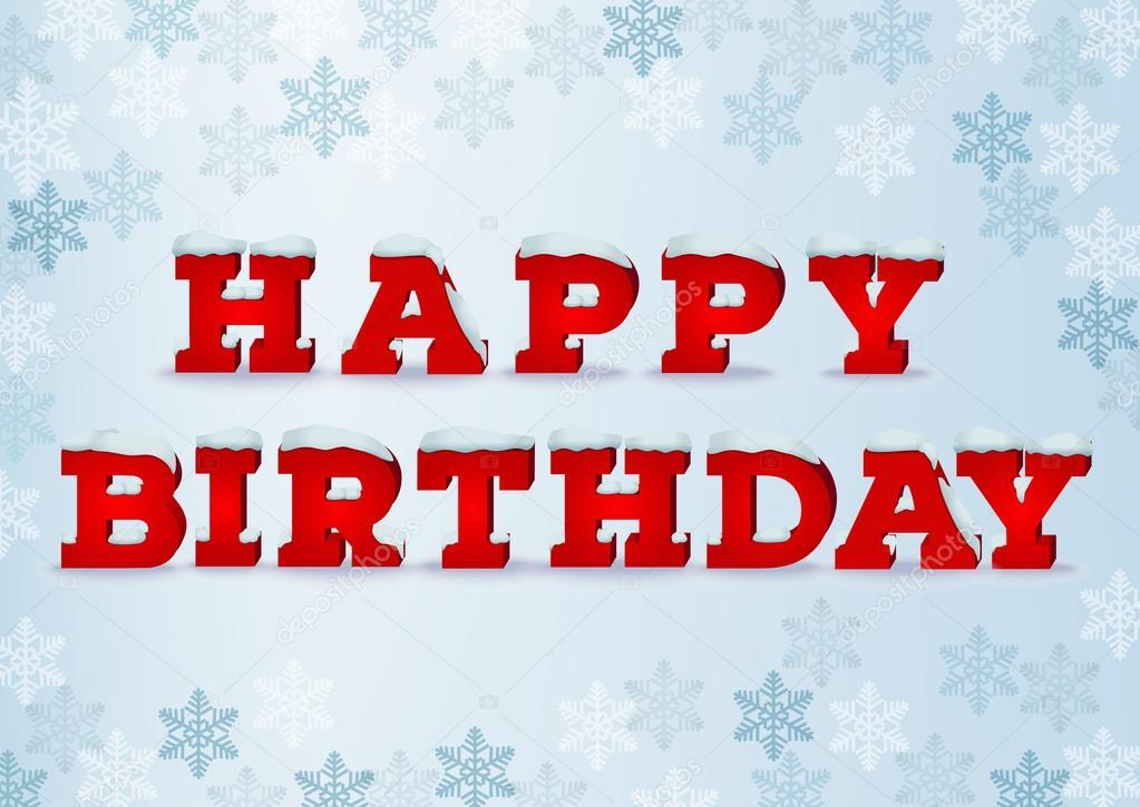 Happy Winter Geburtstag Inschrift Design Vorlage Stockvektor