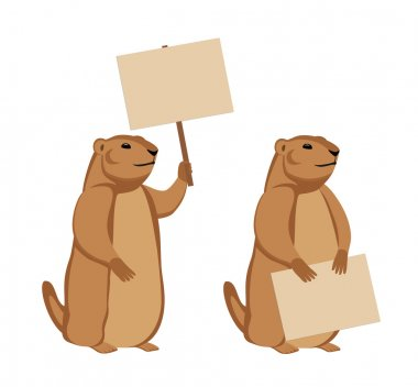 Two groundhogs with wooden signs. Isolated on white background animal character for your design. Vector illustration clip art vector