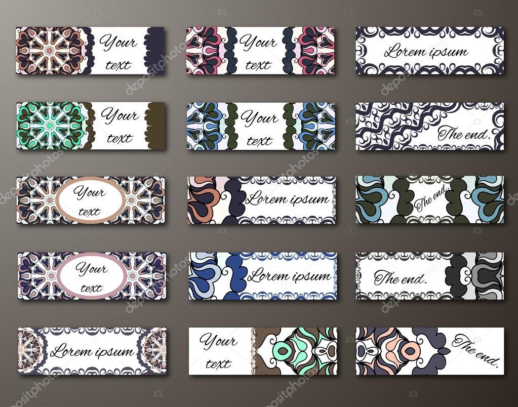 Grandes Bannieres Definir Des Modeles Invitations Banderoles Cartes De Visite En Style Oriental Asiatique Arabes Motifs Illustration