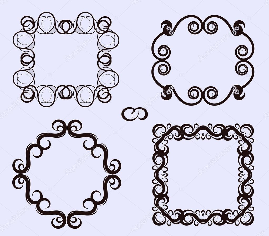 Conjunto de vectores de marcos caligr ficos marcos para - Marcos para decorar ...