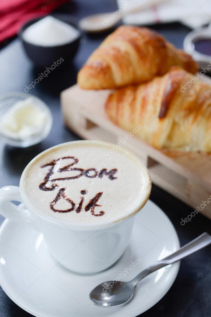 Excepcional Projeto de capuccino de café da manhã - bom dia — Stock Photo  BC46